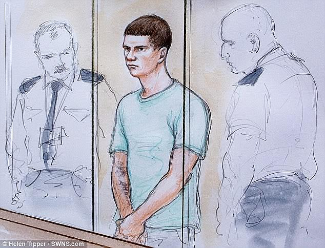 Barley (pictured at an earlier hearing) armed himself with a kitchen knife when he crept inside the family's home  and stabbed them as they slept in their beds