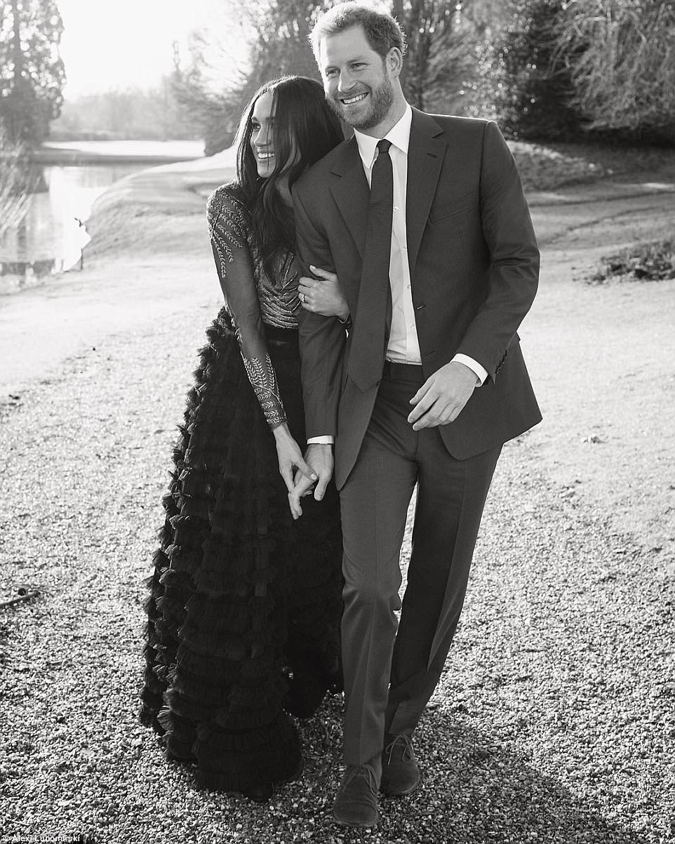 Prince Harry and Meghan Markle shared this 'candid photograph from the day of their portrait sittings'at Frogmore House, a private royal residence in the grounds of Windsor Castle. A social media post by Kensington Palace said: 'Thank you so much for all of the wonderful comments following the release of Prince Harry and Ms Meghan Markle's engagement photographs. The couple are so grateful for the warm and generous messages they have received during such a happy time in their lives'