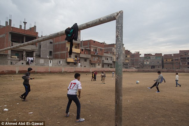 The pitch where kids still play is just a two-minute walk from Salah's family apartment