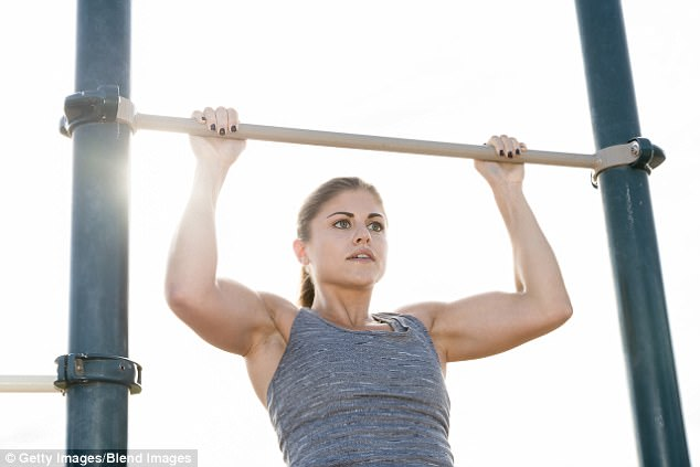 Chin ups work your biceps and triceps to tone up flabby arms