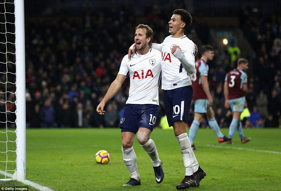 Two of Kane's goals were assisted by England team-mate Dele Alli, who was unpopular among the home fans at Turf Moor