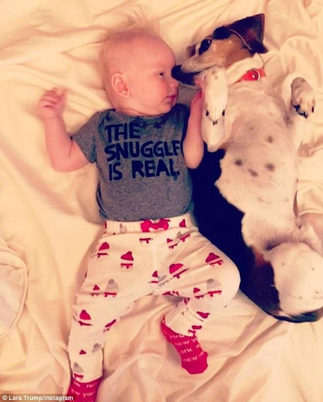 Ready for santa: Lara Trump shared this photograph of her son Luke on Christmas Eve