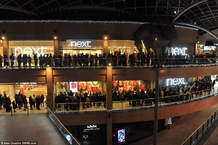 At the Trinity shopping centre in Leeds, every floor was filled with shoppers young and old hoping to find a bargain