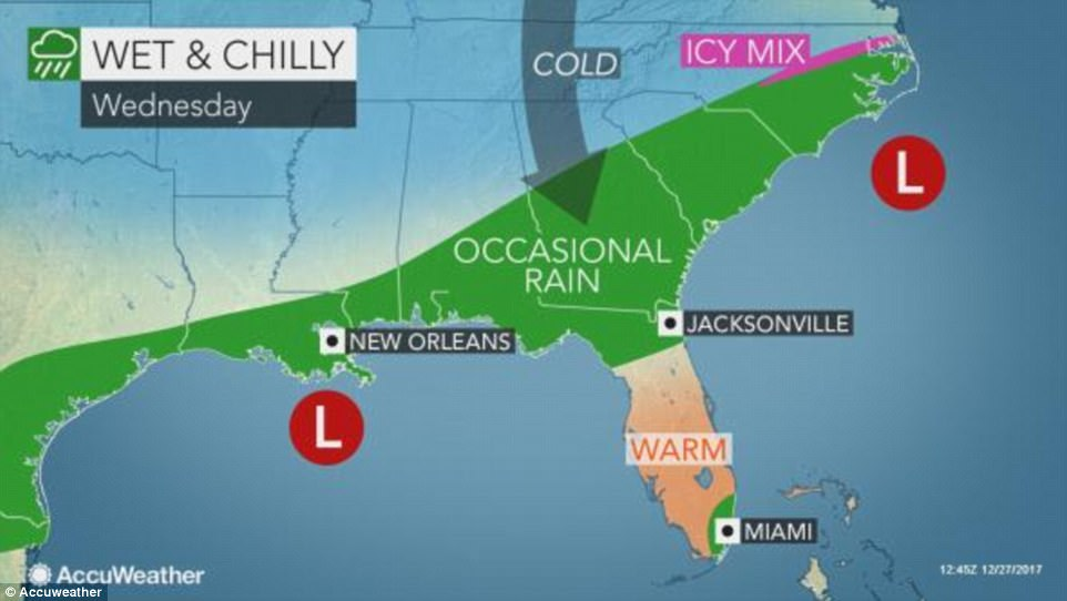 For southern states like Louisiana, Georgia, South Carolina and North Carolina, residents can expect wet and chilly rain over Wednesday, while it will be warm in Florida