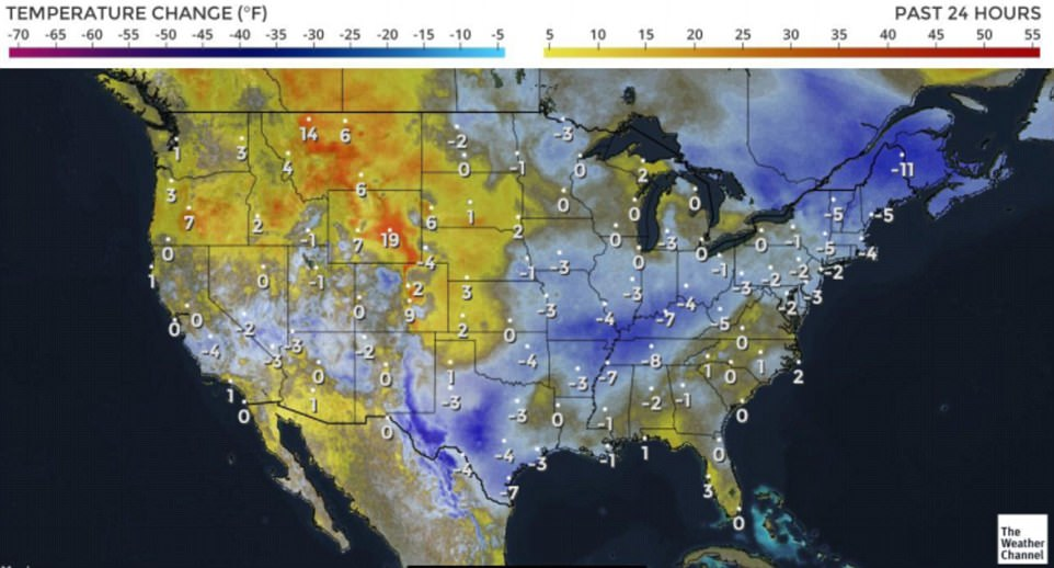 The above map shows the variation in temperatures across the country in the past 24 hours