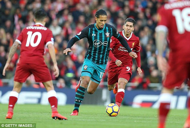 Van Dijk playing against Liverpool for Southampton earlier this season in the league at Anfield