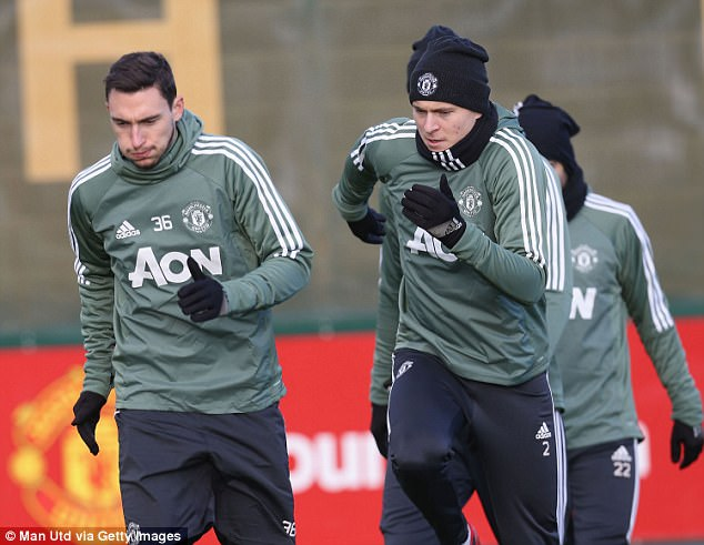 Matteo Darmian also trained despite injury concerns, as did fellow defender Victor Lindelof