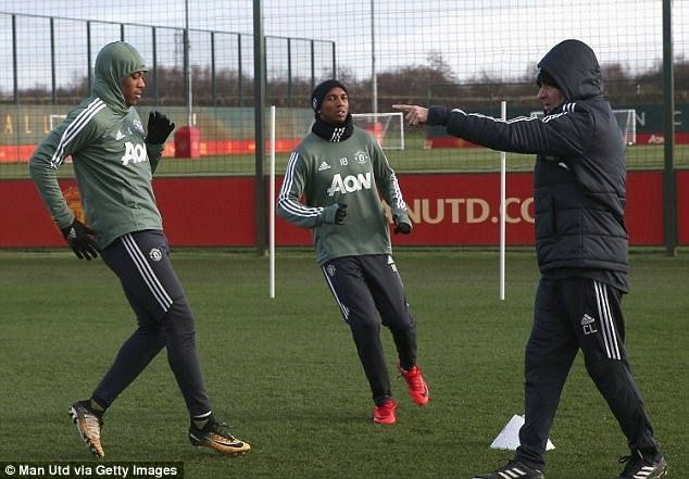 Anthony Martial took part in the session despite being an injury doubt, as did Ashley Young
