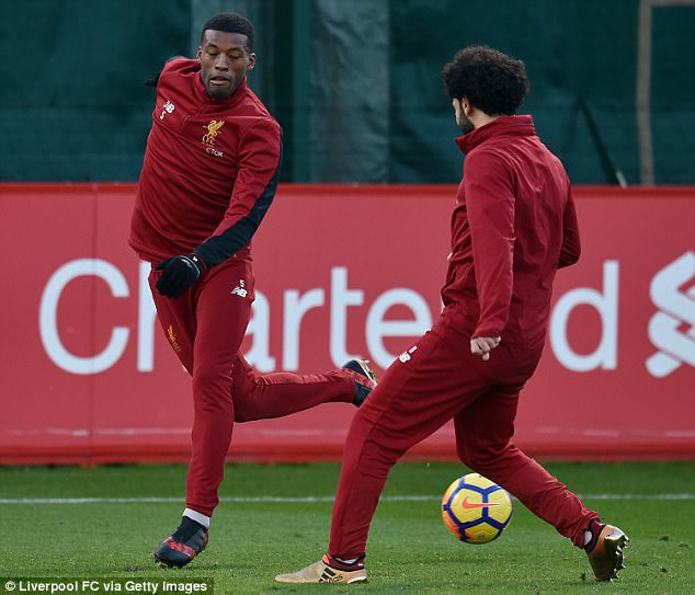 Mohamed Salah learns that Georginio Wijnaldum is capable of some fancy footwork too