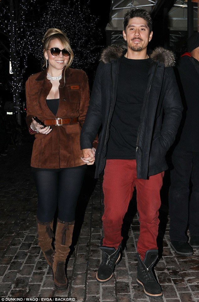 Loved up: Mariah Carey and boyfriend Bryan Tanaka were seen out on the town in Aspen on Thursday night