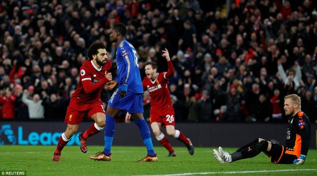 The Egyptian latched onto an outrageous through ball from Sadio Mane before dodging a tackle and slotting into the corner