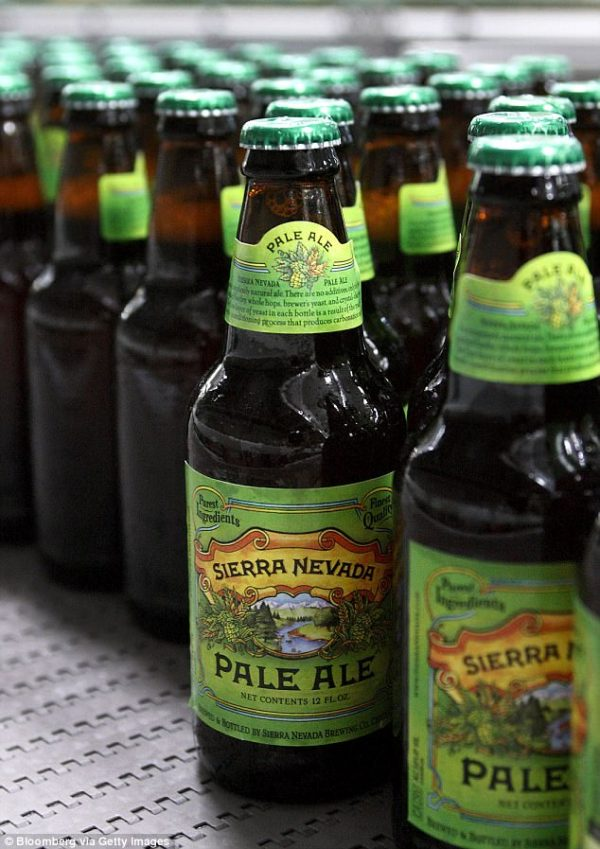 Beer brought in $5billion of revenue for California this year, according to data from industry research group IBIS World (Pictured, left, Sierra Nevada Pale Ale, brewed in California)