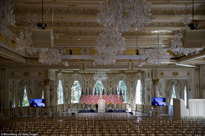 Donald J. Trump Grand Ballroom at the Mar-A-Lago Club in Palm Beach is shown Tuesday, March 15, 2016