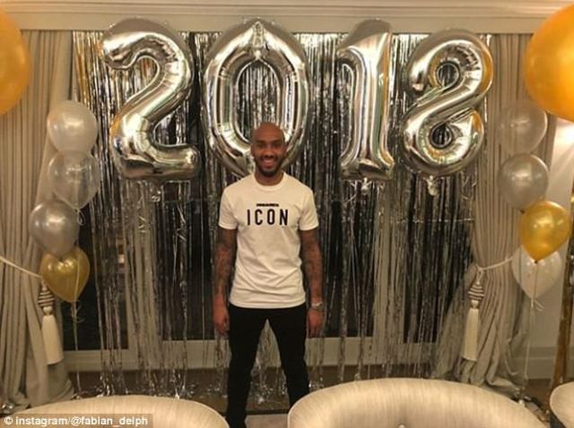 Manchester City's Fabian Delph bucked the trend by posing alone in his New Year effort