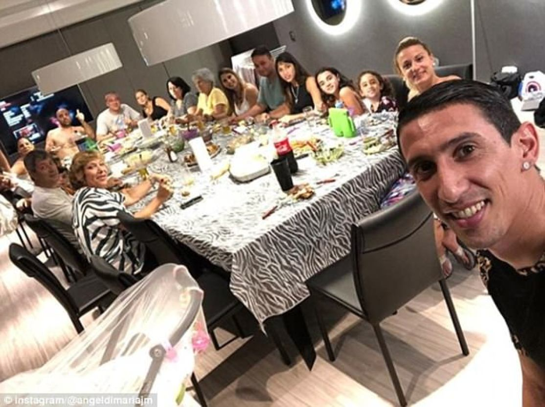 Paris Saint-Germain's Angel Di Maria had a table full of guests for a New Year's meal