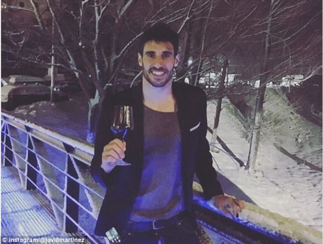 With a tipple to bring in 2018 was Bayern Munich's Javi Martinez, against a snowy backdrop