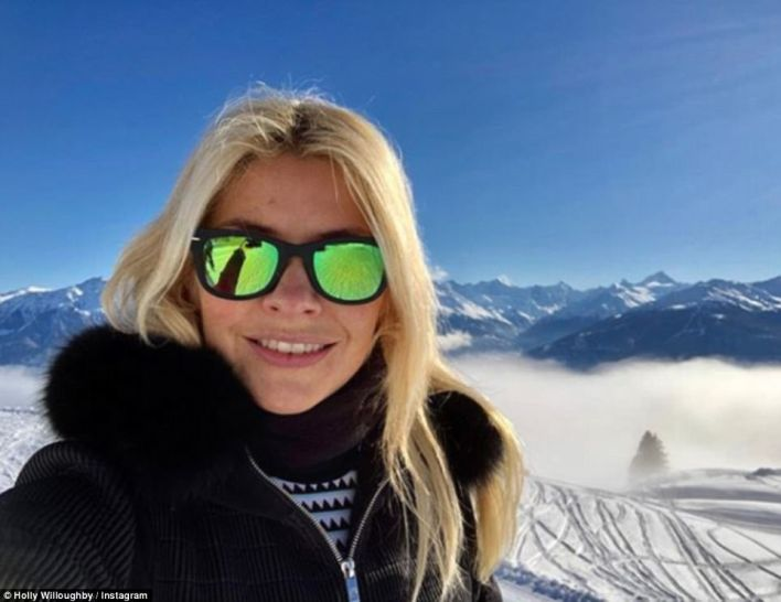 Hitting the slopes: She then followed that with another dose of winter sunshine on a second ski trip in December with Dragon's Den star Peter Jones
