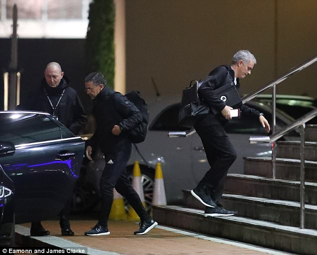 The Portuguese manager makes his way into the hotel following Wednesday's training session