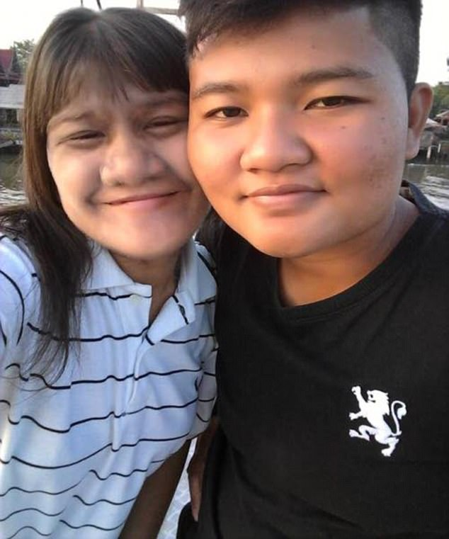 Loved up: Supatra Susuphan, 17, formerly the Hairiest Girl in the World, is posing with her new husband on her social media account