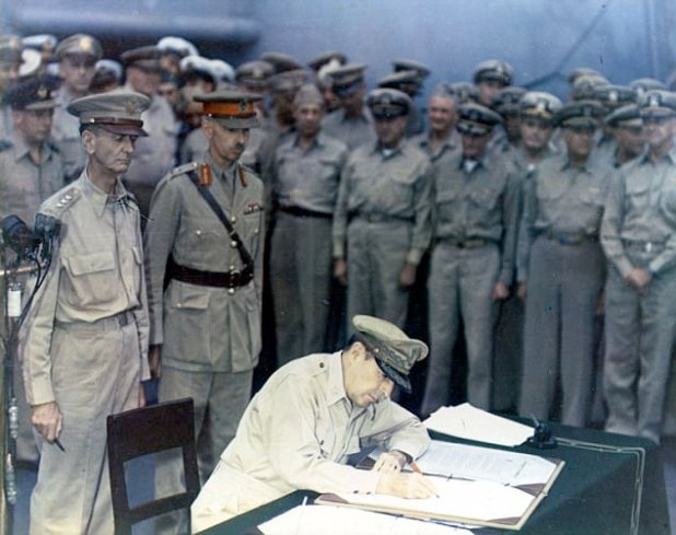 The ship on which Byron Nilsson served - the U.S.Missouri - is where Fashioned Douglas MacArthur and Allied leaders formally accredited Japan's give up on September 2, 1945 (pictured)