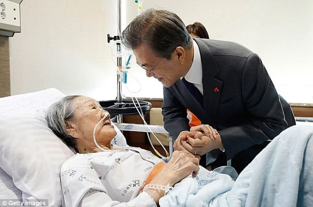 Survivor: South Korean President Moon Jae-in met one of the most closing surviving sex-slaves kept in Jap military brothers, including Kim Bok-dong, who rubbished Tokyo's £6.5m payout