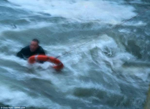 A man and his dog were rescued at Mullion Harbour after being swept into the sea by an substantial wave at some level of Storm Eleanor