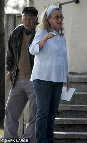 The rapist's ex-wife Jean Clayton is pictured approach her dwelling in Yambol, Bulgaria
