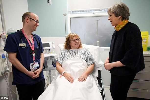 On a discuss over with to Frimley Park Sanatorium in Surrey the day before recently Theresa Might maybe well also (pictured left) apologised to sufferers and stated the Government and NHS is doing all it will to re-e book operations that needed to be cancelled as a result of overwhelming numbers