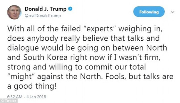 In a tweet early on Thursday, Trump claimed his sophisticated stance on nuclear weapons on the Korean Peninsula helps push North Korea and South Korea to chat