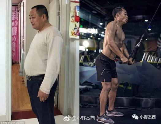 Hombre con los pies en la tierra: el padre de Ding Guoliang era dueño de una pequeña fábrica de bambú.  Se deprimió luego de que su negocio perdiera dinero y ganara mucho peso (izquierda).  Después de entrenar durante seis meses más o menos, el hombre de 53 años parece una década más joven (derecha)