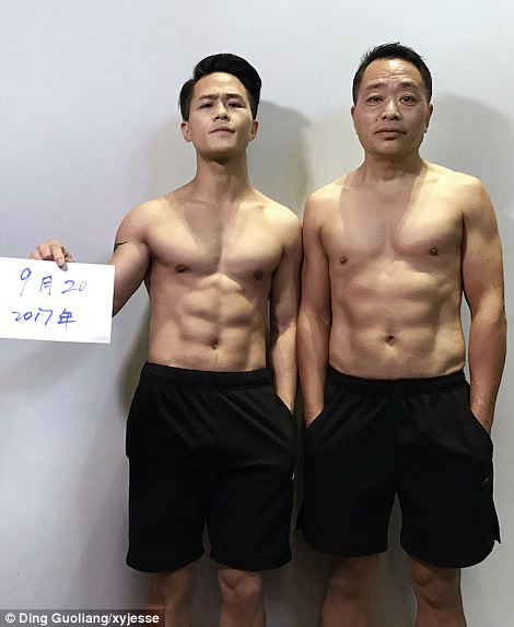 The picture taken on September 20, before they finished their six-month workout plan, shows solid abs on both