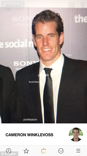 It can tell apart celebrity twins such as American rowers and entrepreneurs the Winklevoss brothers (pictured in the app)