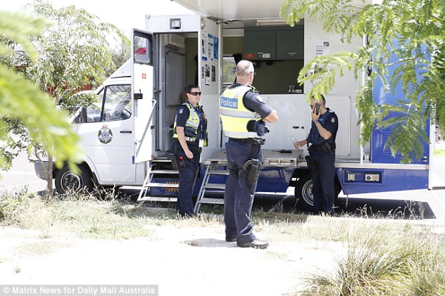 Police and a group of teenage males clash in the housing community of Tarneit (Pictured)