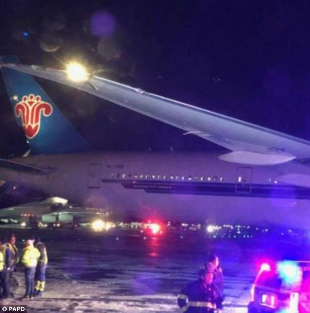 Both planes sustained damage but no passengers on the Kuwait-bound flight were injured. Pictured is the China Southern plane