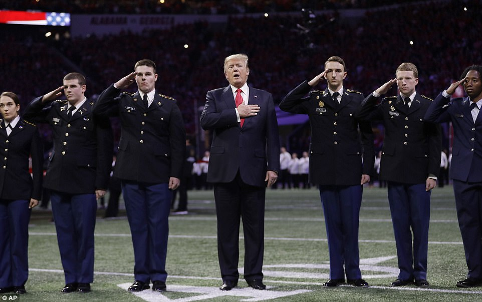 Trump appeared to struggle with the words to 'The Star-Spangled Banner'