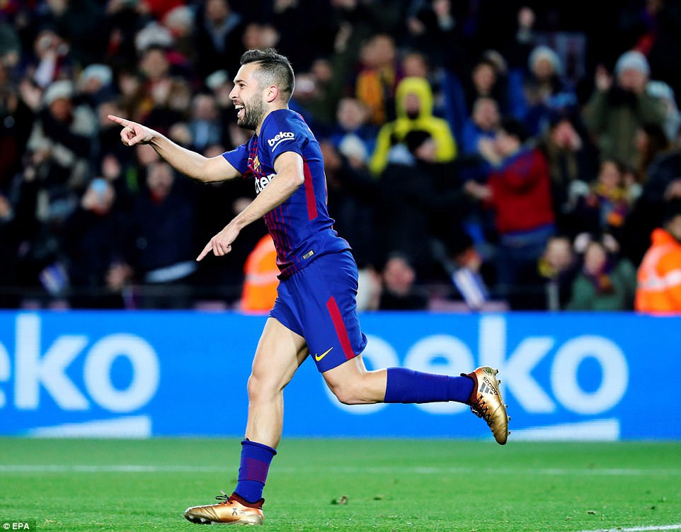 The defender then slid the ball home to put his side further in control before wheeling away to celebrate with Messi