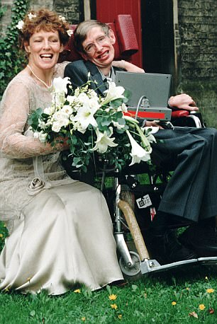 Same man? Some claim it is not the same Hawking in these wedding pictures with wife Elaine
