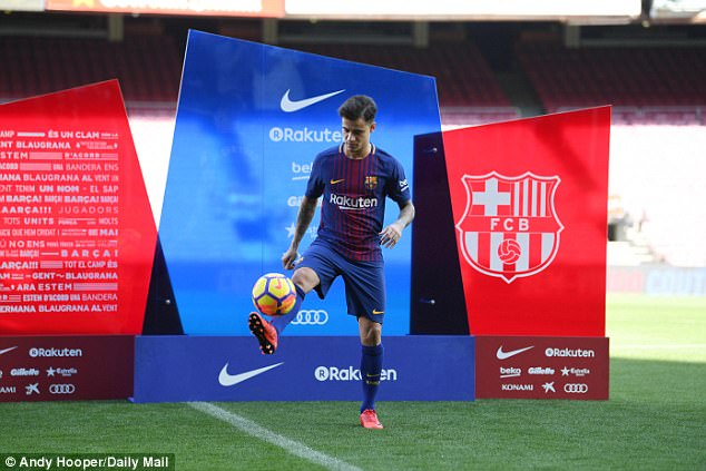 Philippe Coutinho is presented on the Nou Camp pitch after joining Barcelona for £145million