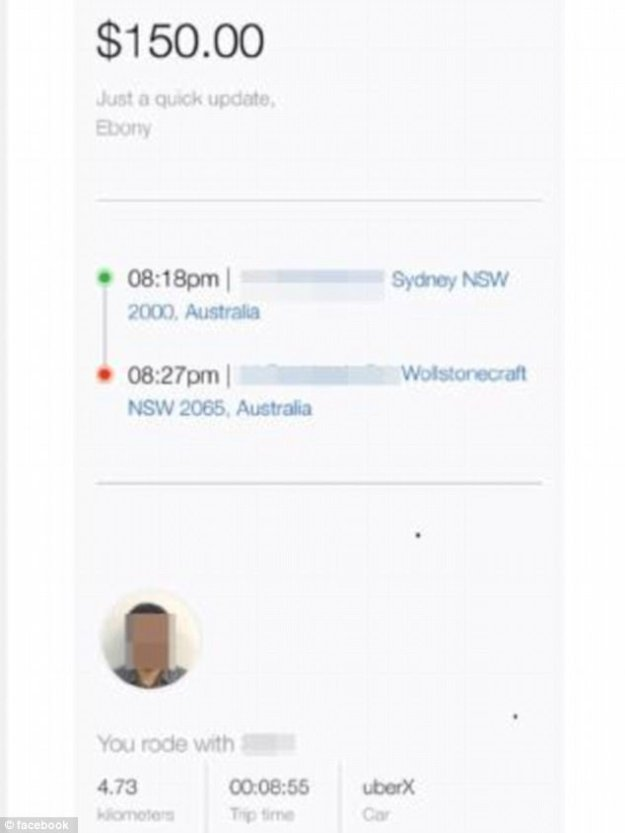 Uber customer Ebony was left shocked after she received the bill (pictured) on top of her fare from Sydney's city centre to the north shore on Wednesday