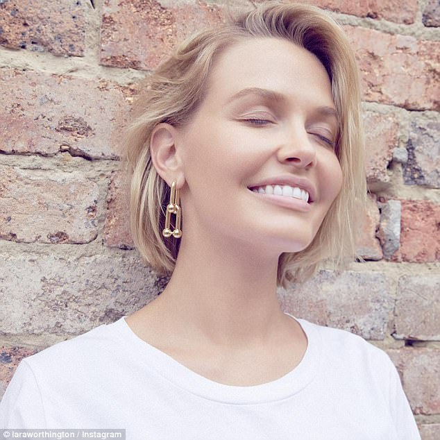 'Sleep is super important to maintaining a great complexion, so take a good quality block-out mask with silk or felt lining,' Melanie said (pictured: Lara Worthington, Melanie's client)