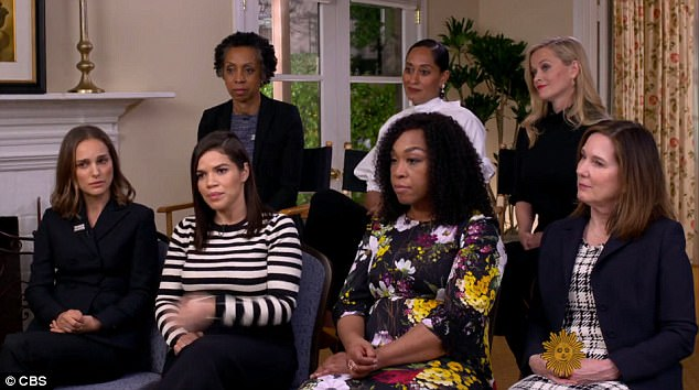 Reese Withersoon, Natalie Portman, Tracee Ellis Ross and America Ferrera joined producer Shonda Rhimes, entertainment lawyer Nina Shaw and Lucas Films President Kathleen Kennedy