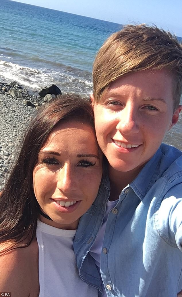 A murder probe has been launched after travel agent Cassie Hayes (right) allegedly had her throat slit.  Her partner Laura Williams (left) has paid tribute following her death