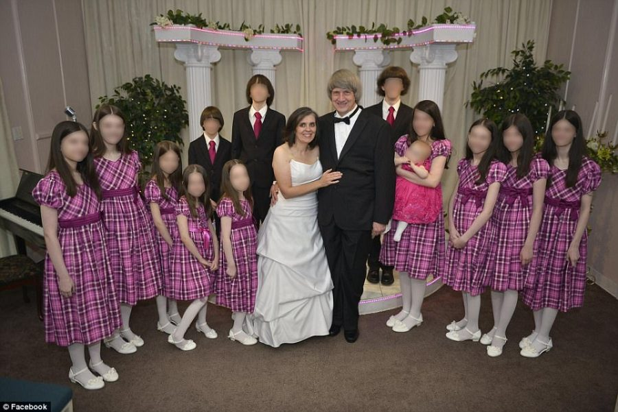 David and Louise Turpin, seen renewing their vows at an Elvis Chapel in Las Vegas in 2016, have been arrested after 13 of their children were found shackled to beds inside their home in California