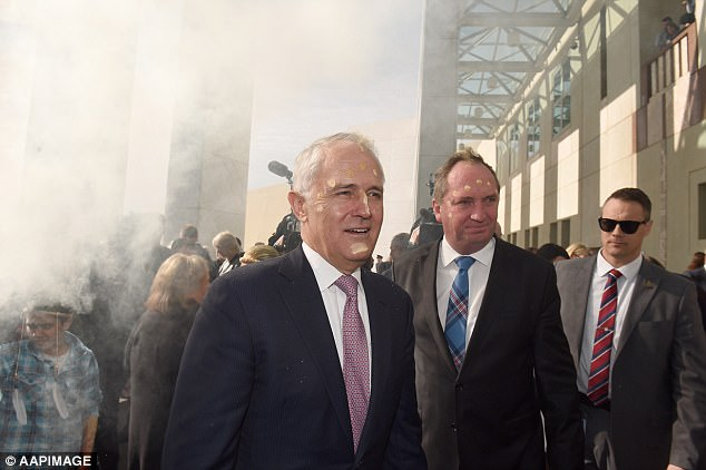 Bess Price said indigenous smoking ceremonies (Prime Minister Malcolm Turnbull and his deputy Barnaby Joyce pictured outside Parliament House) were a 'big lie' in symbolism
