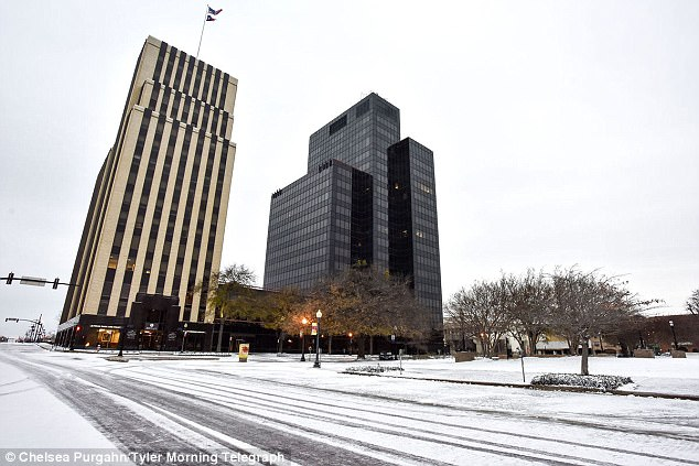 A winter storm warning was issued for Houston and parts of Louisiana and Mississippi causing hundreds of Texas flights to be canceled (Pictured, snow falls in Tyler on Tuesday)
