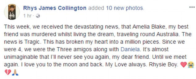 Mr Collington posted this heartfelt tribute to his friend following the news of her tragic death