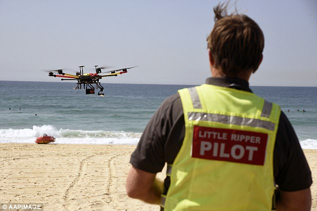 Two teenage swimmers who were sucked out to sea in a rip have been rescued by the Westpac Little Ripperdrone in a world-first operation. The drone is pictured during a previous patrol