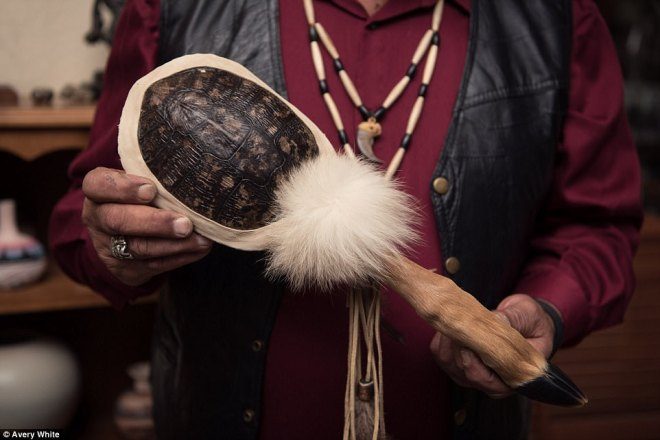 This turtle shell rattle is used in traditional Nisenan ceremonies