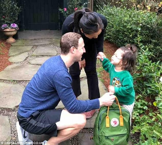 Growing up: Mark Zuckerberg shared a touching post after sending off his oldest daughter Max, two, on her first day of pre-school