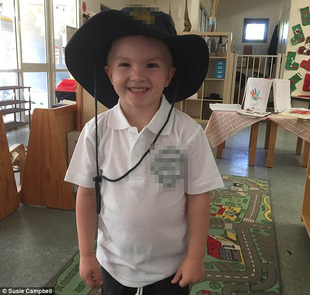 Patrick Campbell (pictured) aged four, couldn't be more excited about his first day of primary school